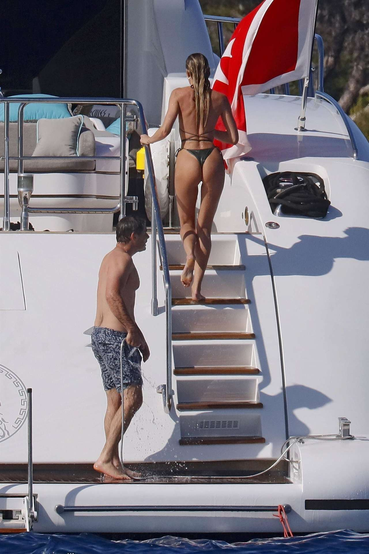 Candice Swanepoel Booty in a Thong Bikini on a Yacht in the French Riviera