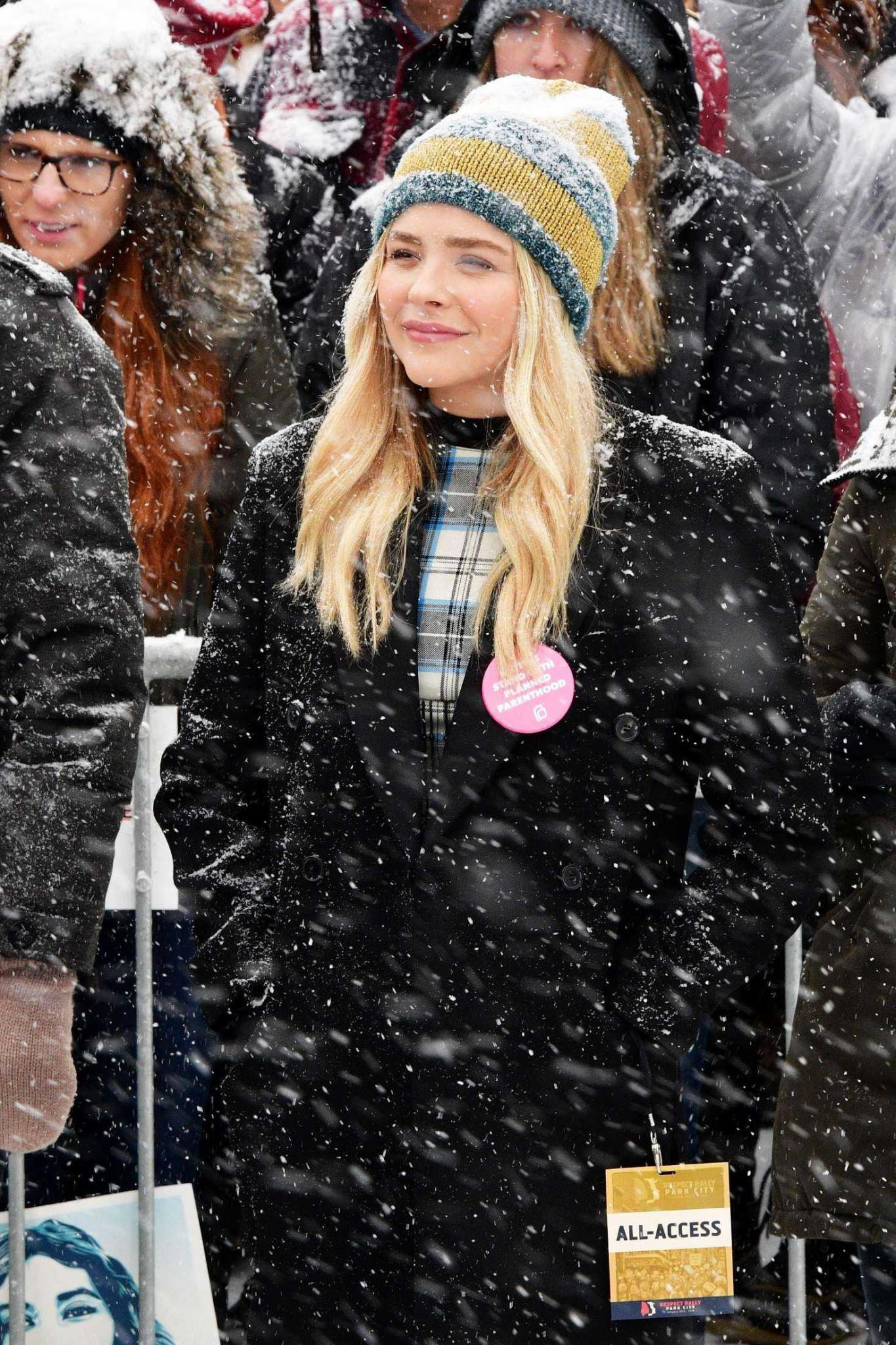 Chloe Moretz at Respect Rally while its Snowing in Park City