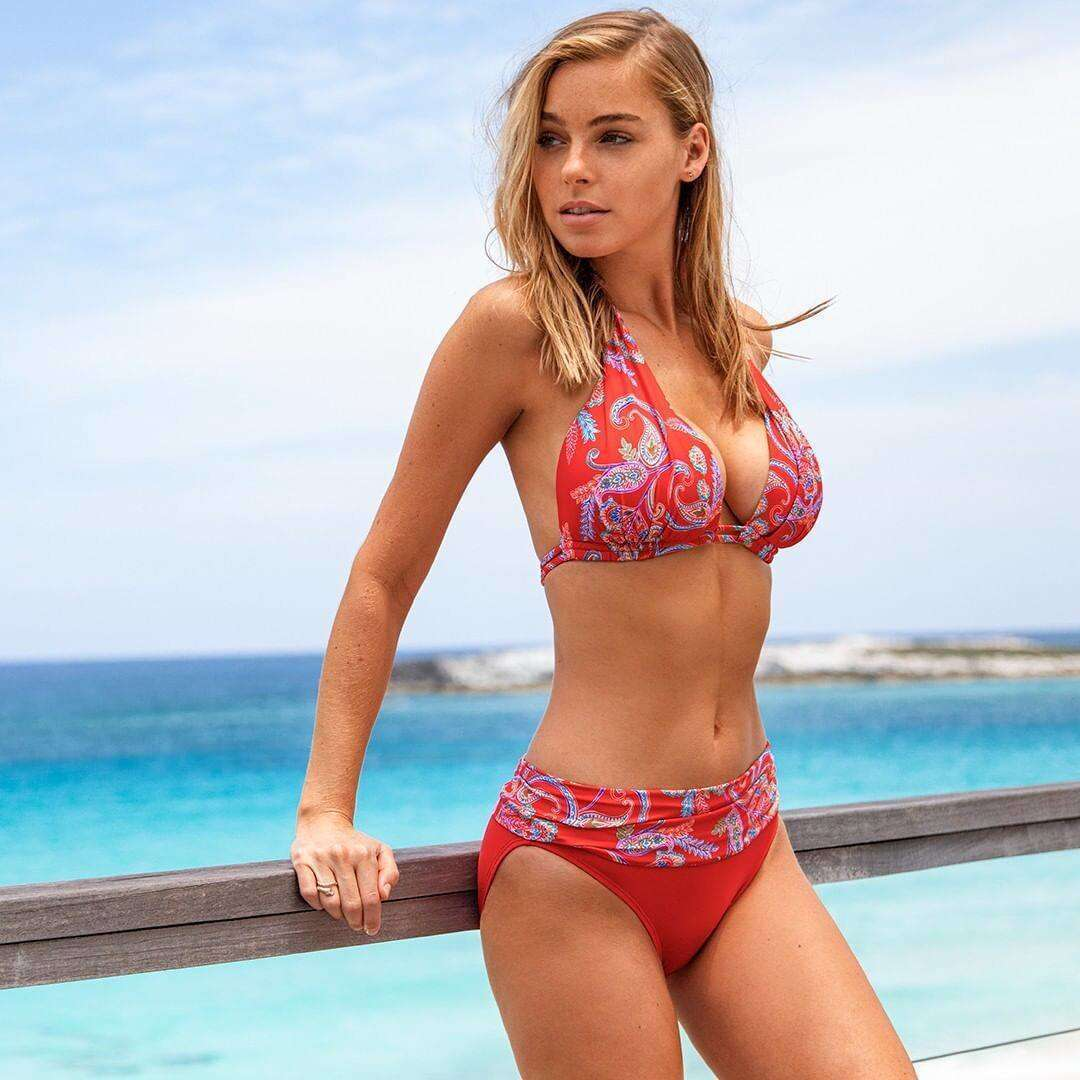 Elizabeth Turner Boobs in Bikini Photoshoot for Sunset Separates 2020 Collection