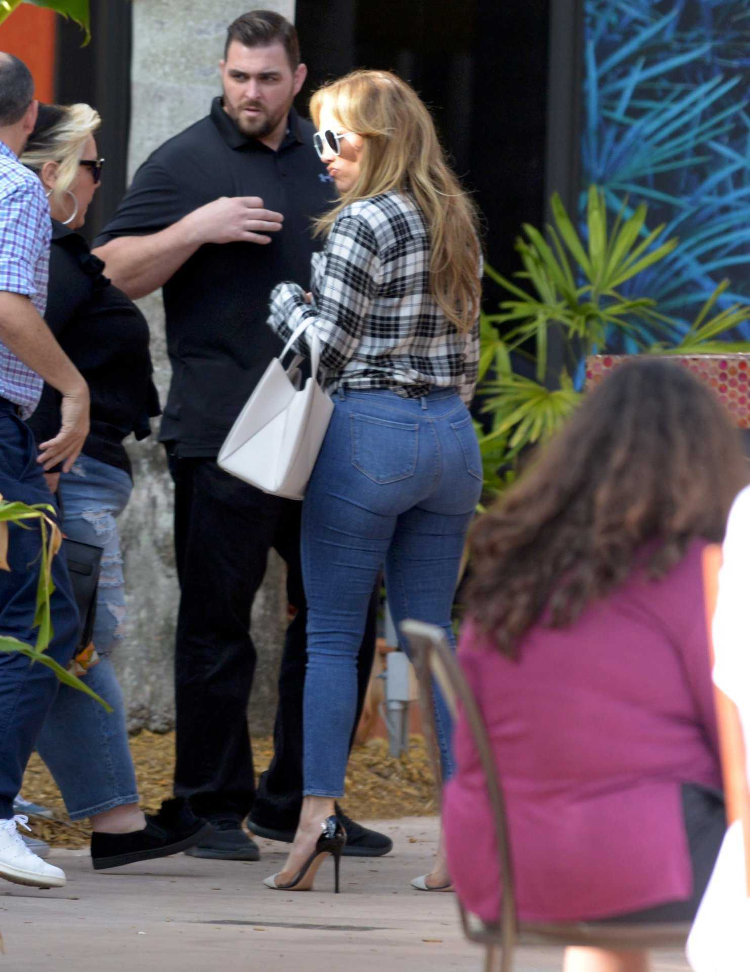 Jennifer Lopez Booty in Jeans Out in Miami