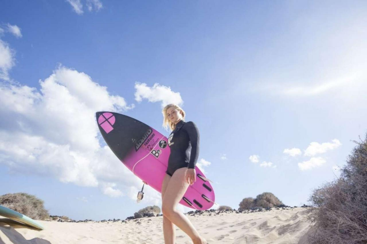 Lucie Donlan in Swimwear Poses for a Surfwear Photoshoot in Fuerteventura