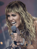 Miley Cyrus Performing on the Pyramid Stage at Glastonbury Festival in Somerset