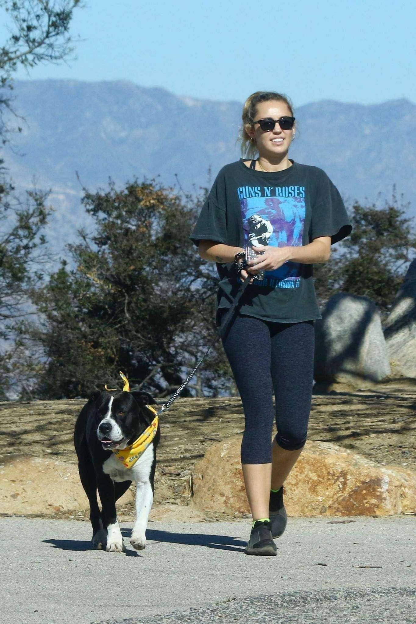 Miley Cyrus with Dog Mary Jane on a Hike in Studio City