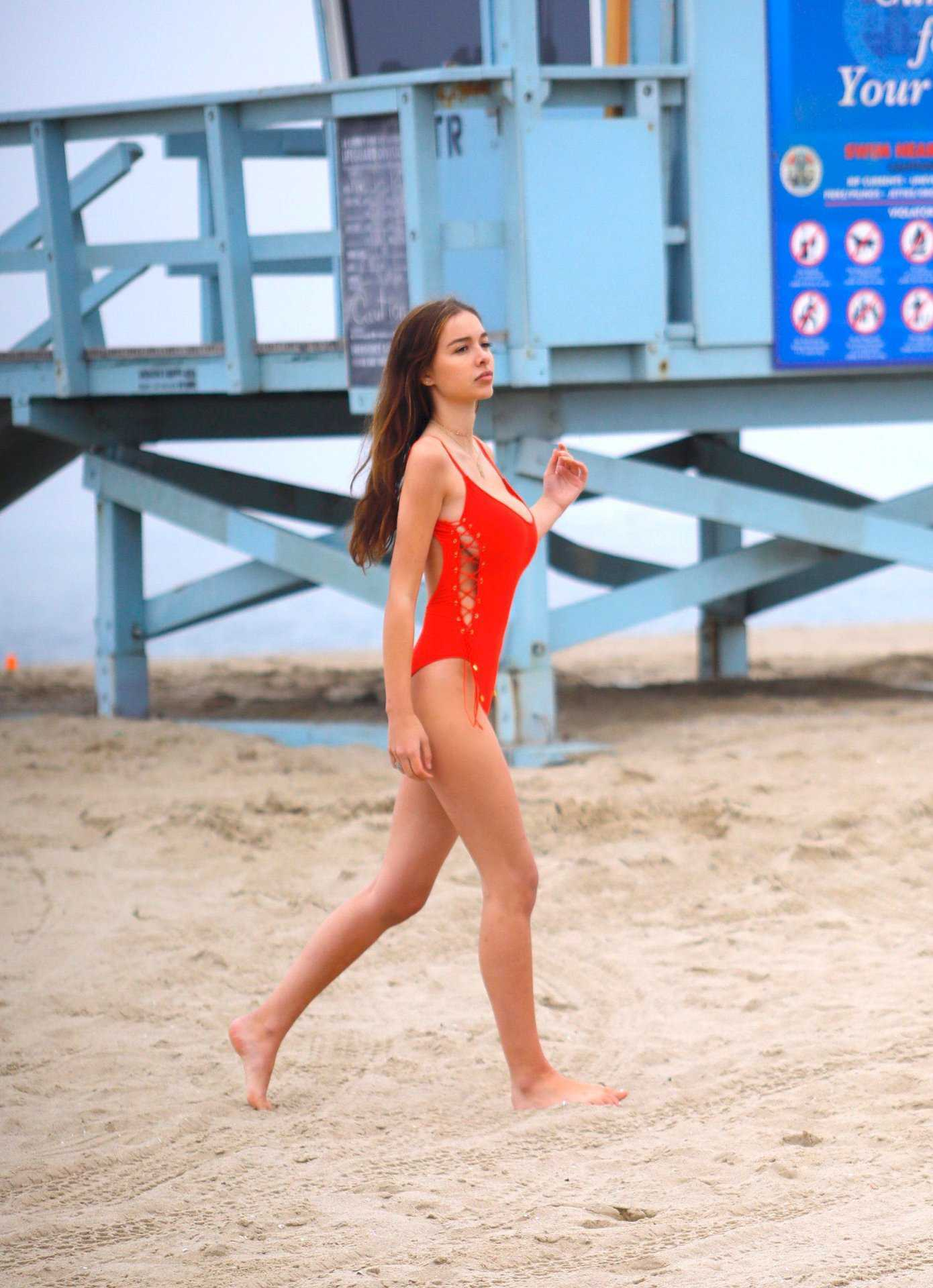 Sophie Mudd in Red Swimsuit in Venice